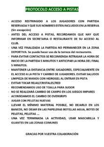 PROTOCOLO ACCESO AL CLUB/PISTAS
